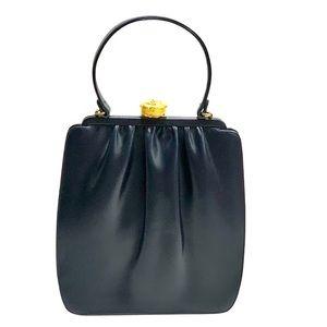 Vintage Berger Handbag with Gold Flower Closure